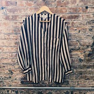 Vintage 100% Silk Striped Blouse